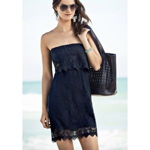 Express black baroque lace tube strapless dress